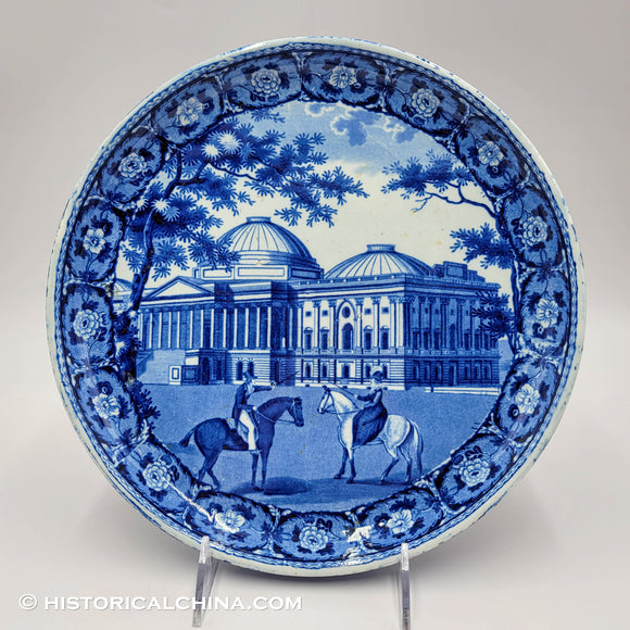 Capitol Washington Historical Blue Staffordshire Cake Stand ZAM-45