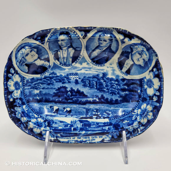 4 Medallion Erie Canal Albany Open Vegetable Dish Historical Blue Staffordshire ZAM-602