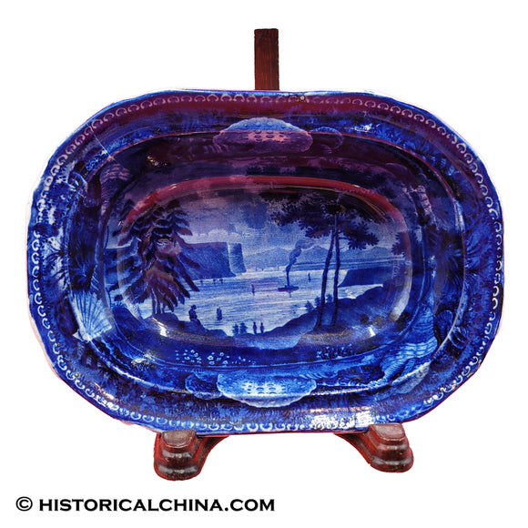 Tappan Zee Greensburg Vegetable Dish Historical Staffordshire Dark Blue Transfer ZAM-608