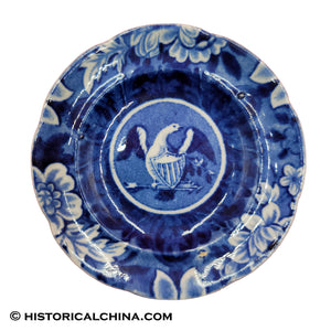 Arms of the United States Eagle Cup Plate Historical Staffordshire Dark Blue Transfer ZAM-112