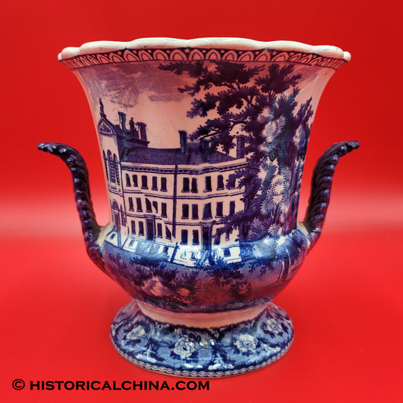 Alms House Vase Ridgway Beauties of America Series Historical Blue Staffordshire ZAM-599
