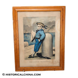 "Darling ca. 1875 Image! ""The Little Yachtsman"" Currier & Ives Hand Colored Lithograph Old Antique Print LAM-107"