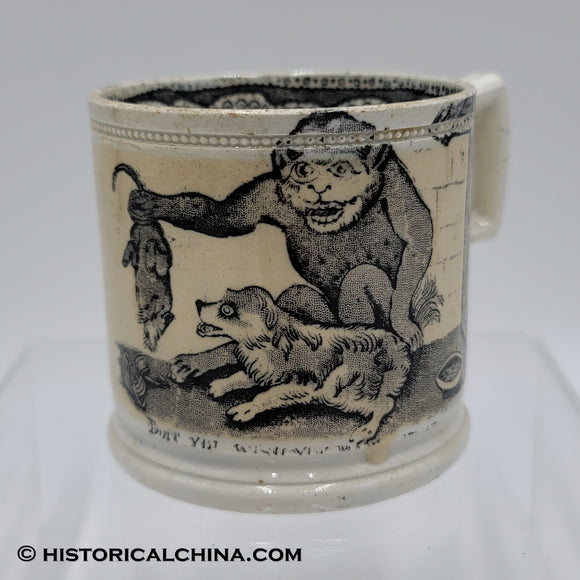 Monkey, Dog, & Rat Scene Transfer Staffordshire Childrens Mug LAM-20