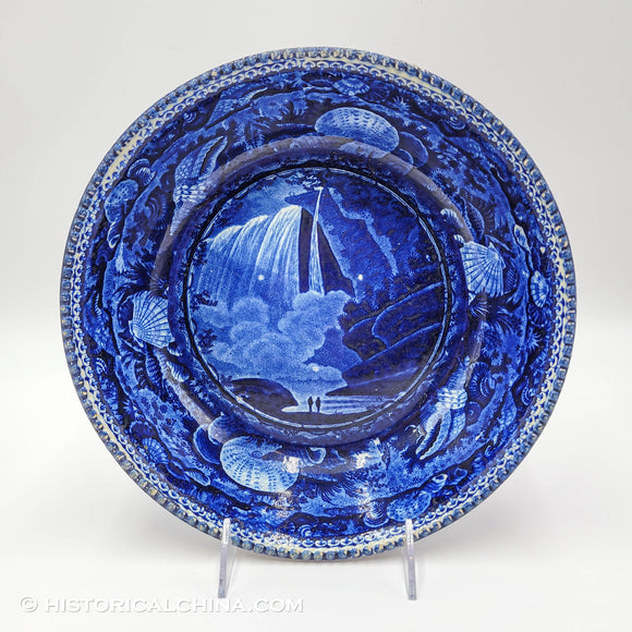 Table Rock Niagara Beaded Rim Bowl Historical Blue Staffordshire Seashell Border ZAM-24