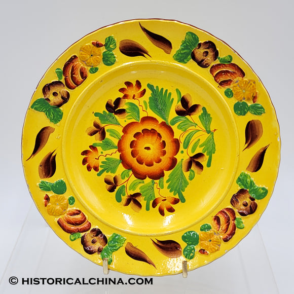 Staffordshire Canary Yellow Hand Painted Floral Decorated Plate Circa 1820 LAM-44