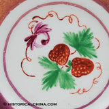 "Hand Painted Pink Luster Staffordshire ""Strawberry"" Child's Cup Plate LAM-69"