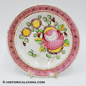"200 YEARS OLD Beautiful Hand Painted Staffordshire ""Queens Rose"" Dessert Plate LAM-70"