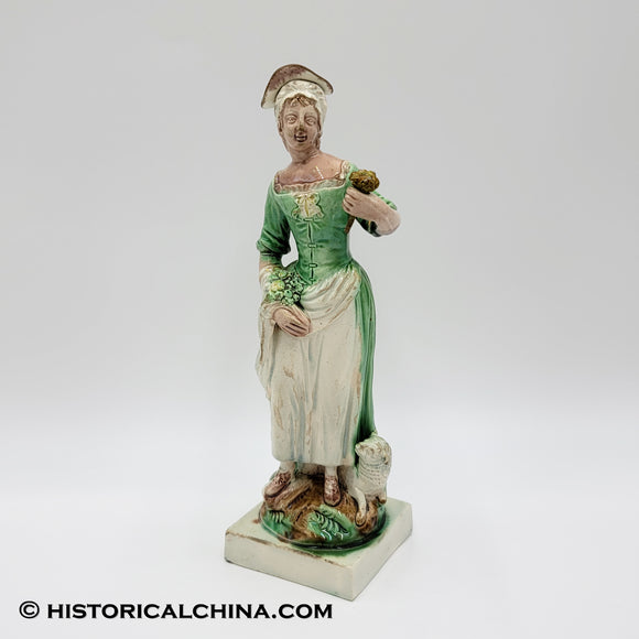 RARE Circa 1760 Staffordshire Figure Beautiful Shepherdess w/ Her Sheep Holding Wildflowers Ralph Wood LAM-89