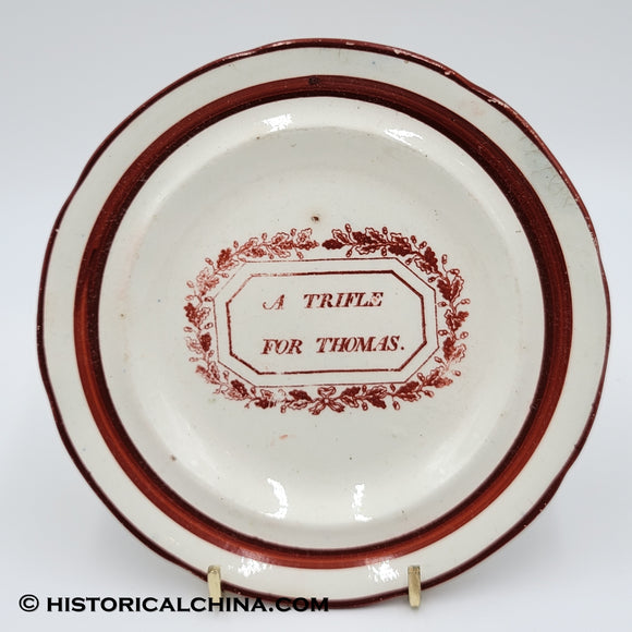 "Staffordshire Pearlware children's plate ""A Trifle For Thomas"" Impressed Wood LAM-84"