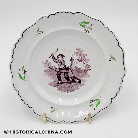 Staffordshire Children's Plate Purple Transfer Pretending To Ride Horse LAM-87