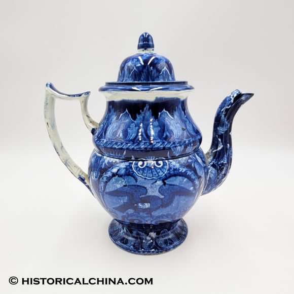 Spread Wing Eagle Coffeepot Historical Blue Staffordshire ZAM-56