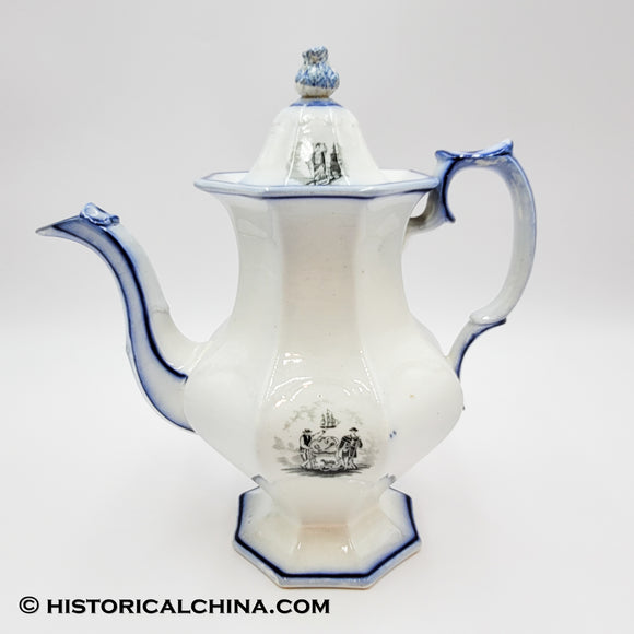 Arms of the States Mellor & Venubles States Coffeepot Historical Blue Staffordshire ZAM-58