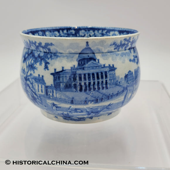 Boston State House Pass It Cup Mug Historical Blue Staffordshire ZAM-240