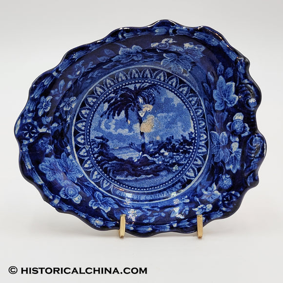 Arms of South Carolina Leaf Dish Historical Blue Staffordshire ZAM-214