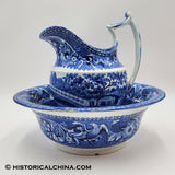 Upper Ferry Bridge over the Schuylkill River Bowl & Pitcher Set Eagle Historical Blue Staffordshire ZAM-42