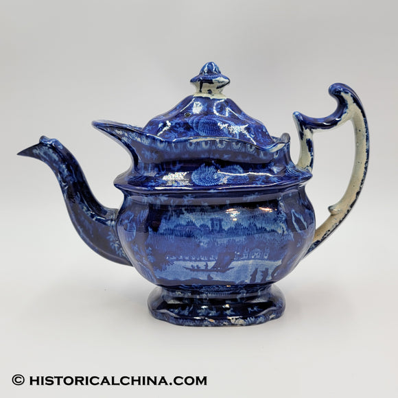 Wadsworth Tower Teapot Seashell Border Historical Blue Staffordshire ZAM-552