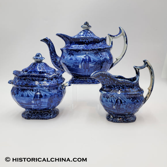 Washington Tomb Scroll In Hand Tea Set Teapot Sugar Bowl Creamer Historical Blue Staffordshire ZAM-68-558-534
