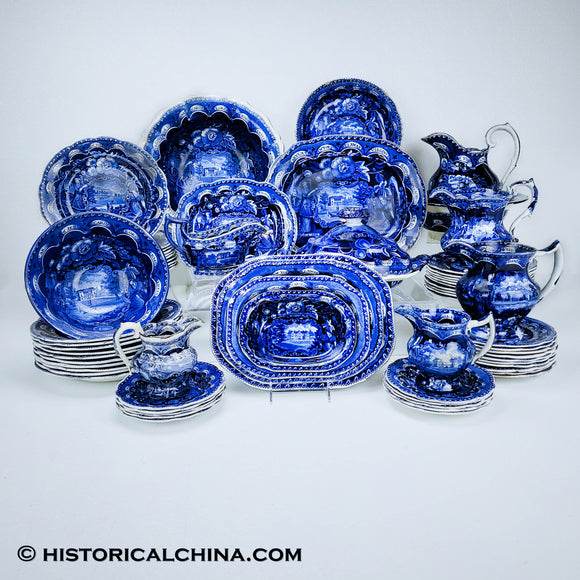Service for 10 States Pattern Service Table Setting Historical Blue Staffordshire ZAM-STATES