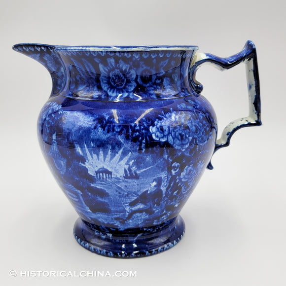 Lafayette at Franklin's Tomb Pitcher Historical Blue Staffordshire ZAM-264