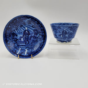 Washington Standing at his Tomb Scroll in Hand Cup & Saucer Historical Blue Staffordshire ZAM-106