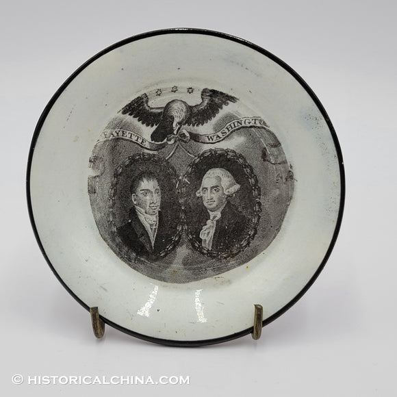 Washington & Lafayette Cup Plate Black Transfer Historical Staffordshire ZAM-126
