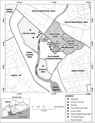 map of the Agbogbloshie dumping ground