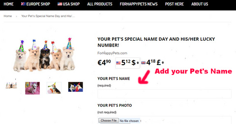 Your Pet's Special Name Day and His/Her Lucky Number