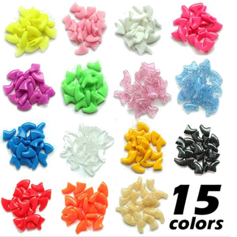 20 pieces Soft Pet Nail Caps Claw Control With Glue - ForHappyPets.com