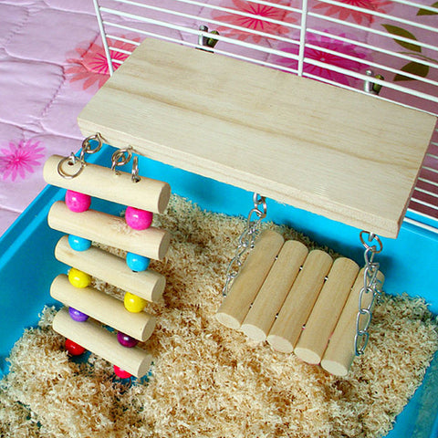 3 pieces Wooden Pets Toy Swing Bridge For Hamster Bird - ForHappyPets.com
