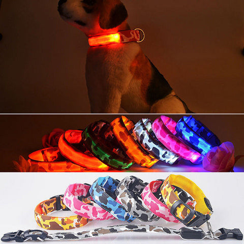 Dog LED Nylon Safety Light-up Flashing Collar - ForHappyPets.com