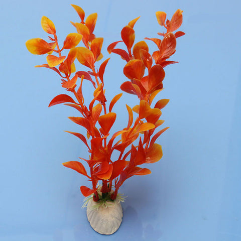 Aquarium Plant Orange Plastic Decoration - ForHappyPets.com