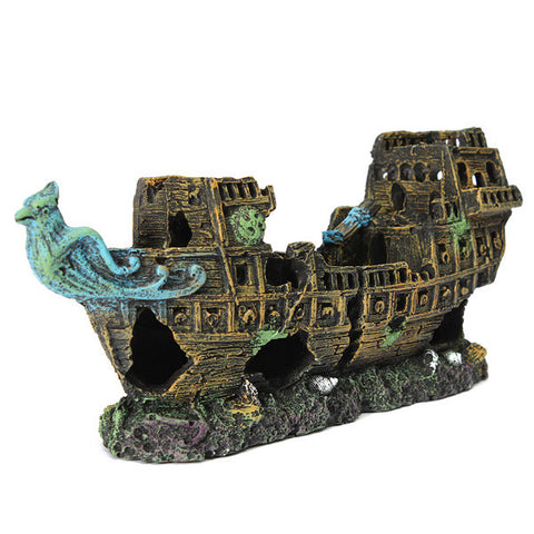 Amazing Aquarium Lost Cruise Wreck Ship Decoration - ForHappyPets.com