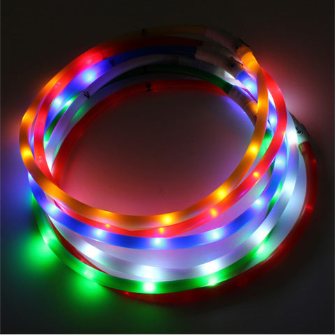Waterproof Rechargeable LED Flashing Light Loop Dog Collar