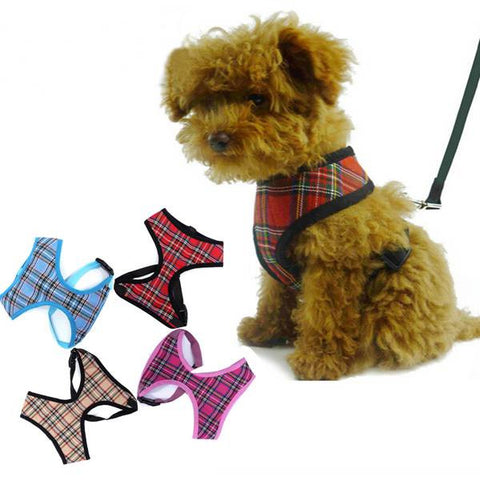 Adjustable Tartan Dog Harness - ForHappyPets.com