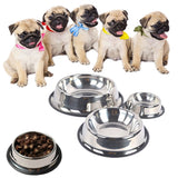 Pet Food Water Single Steel Bowl - ForHappyPets.com