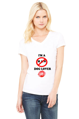''I'M A DOG LOVER'' Women's Jersey Short Sleeve V-Neck Tee