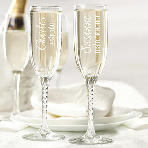 Wedding Toasting Flutes & Wedding Party Glassware