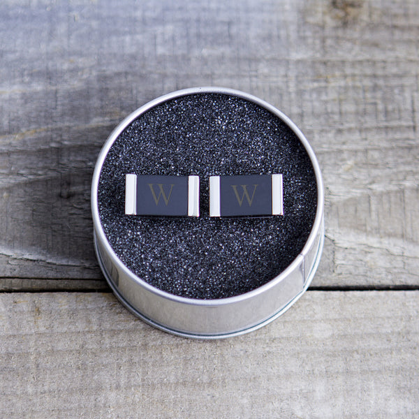 Faux Onyx Stainless Steel Cuff Links