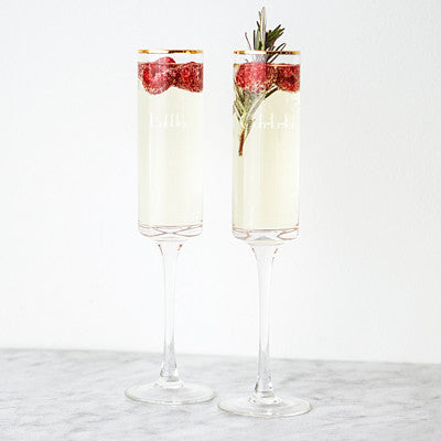 Gold Rim Wedding Toasting Flutes (Set of 2)