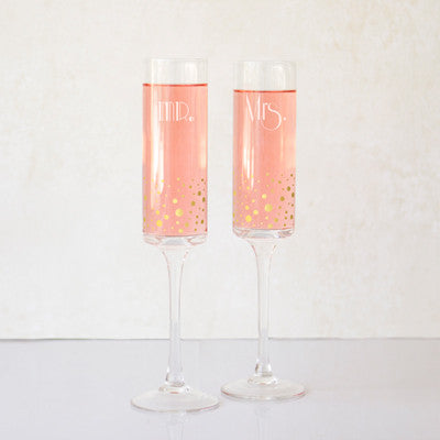 Mr. & Mrs 8 oz. Gatsby Gold Dotted Contemporary Champagne Flutes