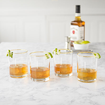 Gold Rimmed Whiskey Glasses - Set of 4