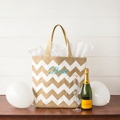 Bride Chevron Natural Jute Tote Bag