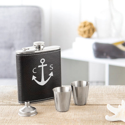 Anchor Leather Wrapped Flask Set