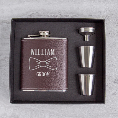Groomsmen Leather Wrapped Flask Set