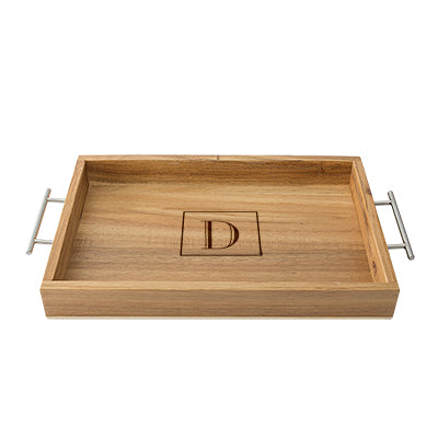 Acacia Tray with Metal Handles