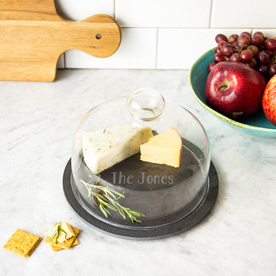 Slate Tray with Glass Dome