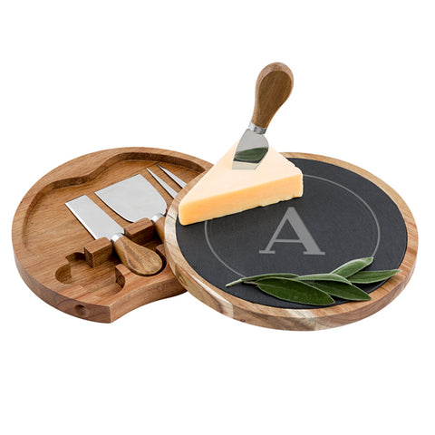 Slate and Acacia Cheese Board with Utensils