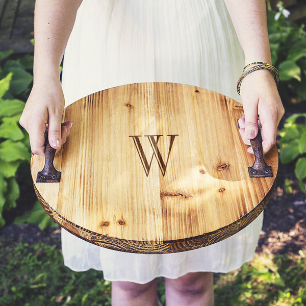 Rustic Wood Tray with Metal Handles