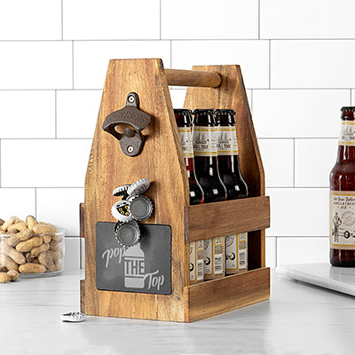 Pop the Top Acacia Slate Beer Carrier with Bottle Opener and Magnetic Cap Catcher