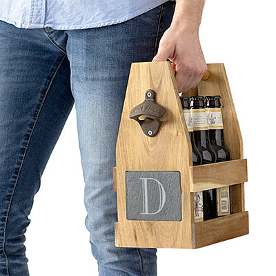 Acacia Slate Beer Carrier with Bottle Opener and Magnetic Cap Catcher